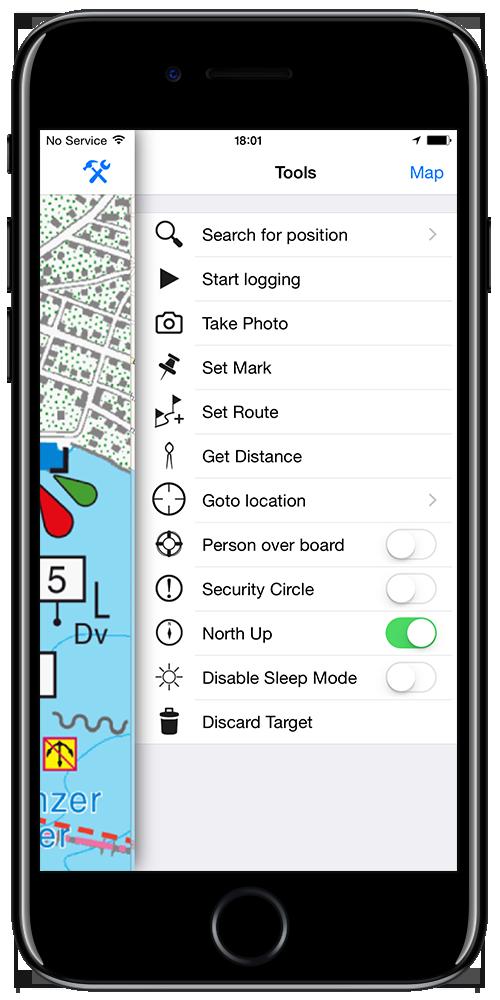 App for sailors iPhone tools screen