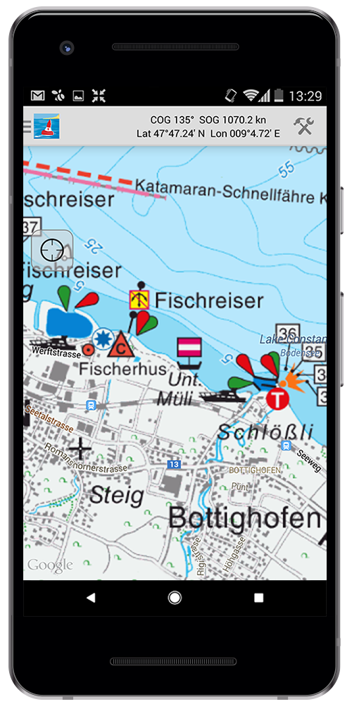 App for sailors Android screen