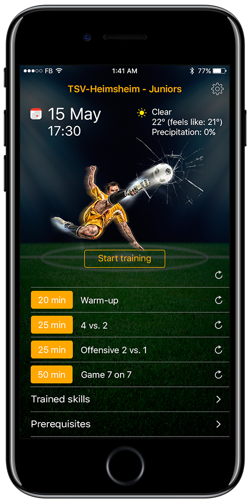 Football app home screen