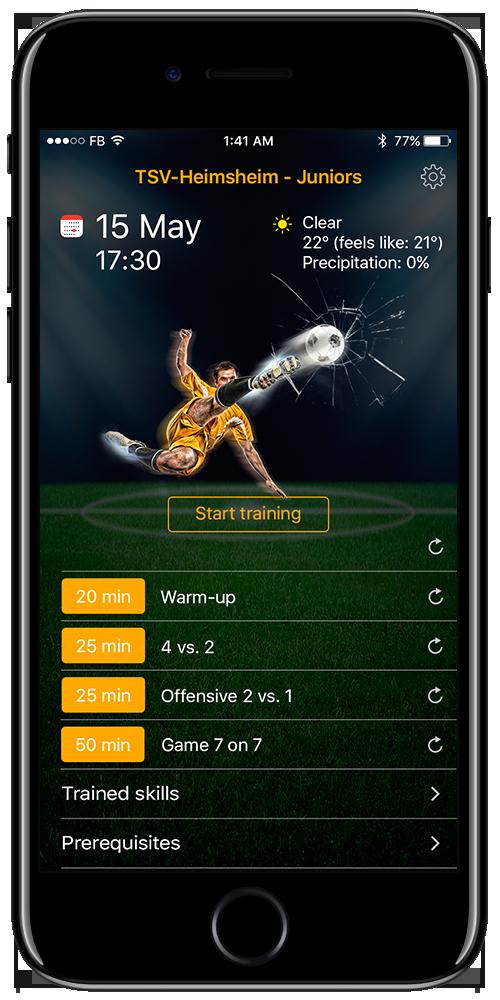 Football app home screen