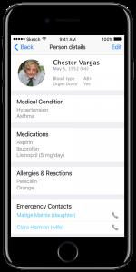 Medical app screen
