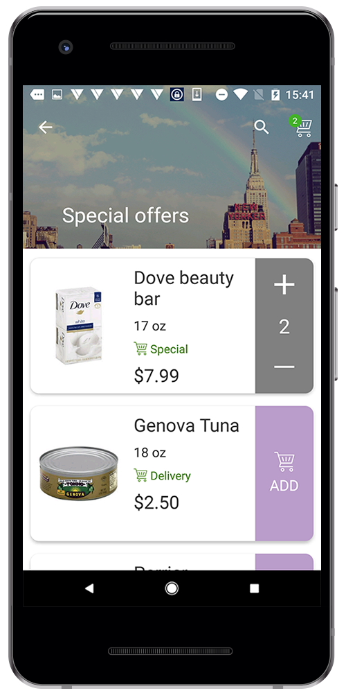Shopping app with delivery
