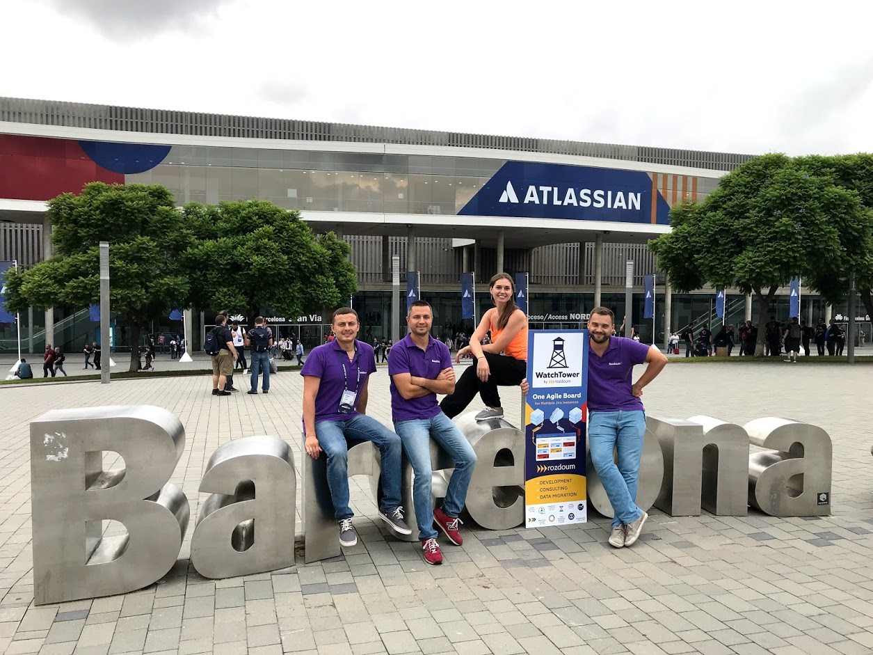 Rozdoum team at Atlassian Summit 2018 in Barcelona, Spain
